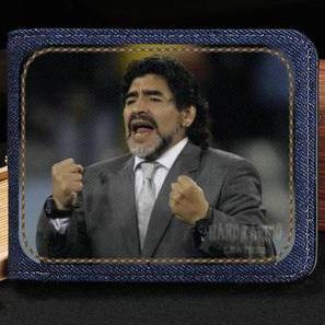 Maradona billetera Diego Armando monedero Fútbol deporte caja de nota de efectivo corta Billete de dinero Bolso burse de cuero Titulares de la tarjeta