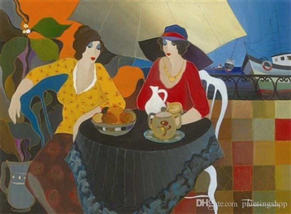 Itzchak Tarkay Nouvelles Figuration Home Artworks Modern Senhora Portrait Handmade Oil Painting on Canvas Concave and Convex Texture IT038