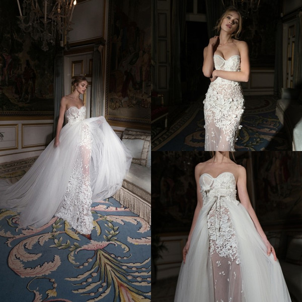 Inbal Dror 2019 아가씨 웨딩 드레스 분리형 기차 레이스 브라 가운 복식 기차 인어 웨딩 드레스 Vestidos De Novia