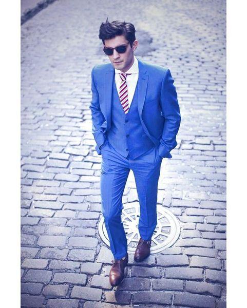 (Veste + Pantalon + Gilet) Personnaliser Beau Bleu Marié Tuxedos Groomsmen Meilleur Homme Costume Hommes Costumes De Mariage Marié Affaires Costumes Hommes