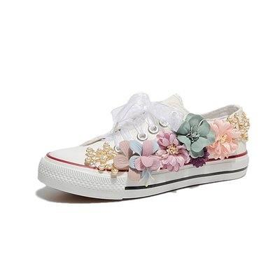 Popular tide models high canvas shoes white shoes handmade custom three-dimensional flower pearl flat women's casual