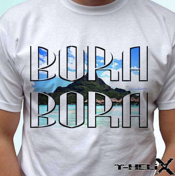 Bora Bora - Kinder der weißen T-Shirt-Feiertagsspitzenland-Entwurfs-Männer babyFunny freies Verschiffen Unisex-beiläufige T-Shirtoberseite
