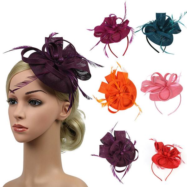 Frauen Haarspange Feder Hochzeit Casual Fascinator Kopfbedeckungen Hut Mesh Kopfbedeckung Classic Bridal Floral Church Headwear Handmade