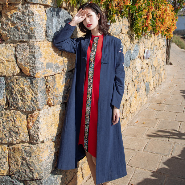 Original Chinese Long Coat Spring New Retro Women's National Style Plate Button Embroidery Tang Suit Windbreaker