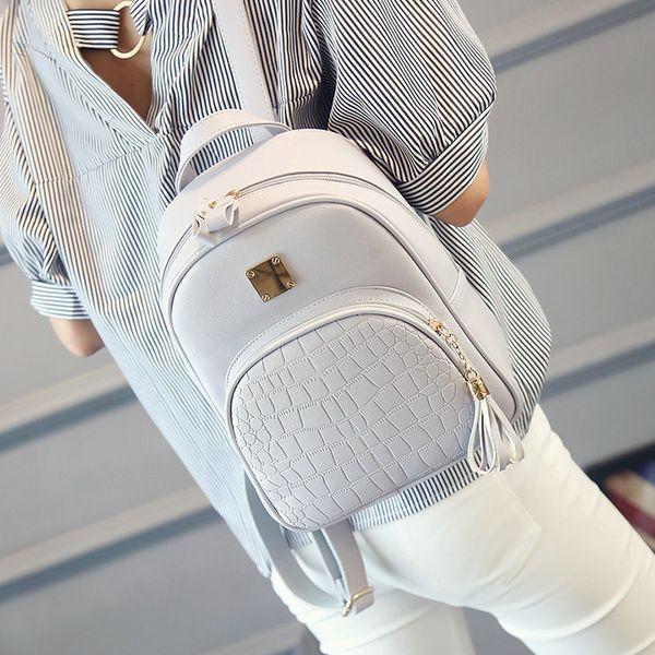 Moda Mini Mochilas Para Mujeres Mochila de cuero Mujer Bolsos escolares Bolsos con cremallera Mochila Mochila de viaje Mochila coreana