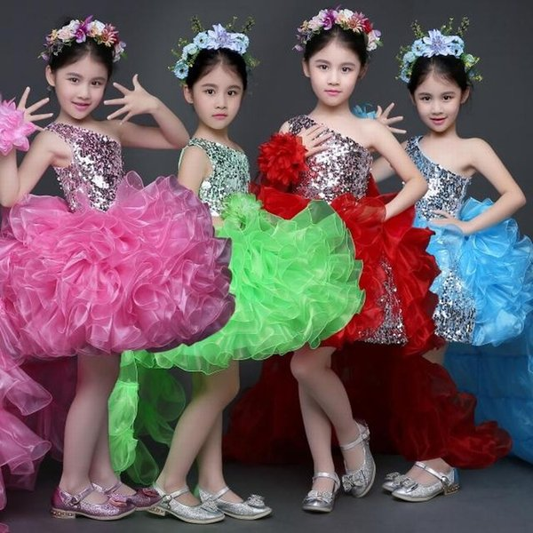 New Charming Princess Girls Party Prom Birthday Performance Dress Kids Flower Girl Dress Beautiful Dance Children Dress ST125
