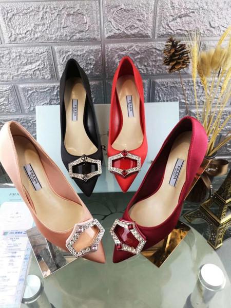 Los nuevos zapatos de tacón alto del vestido de las mujeres italianas de la marca señalaron los zapatos ocasionales de las mujeres del vestido del rhinestone que envían libremente tamaño y altura del envío 35-40 6.5cm