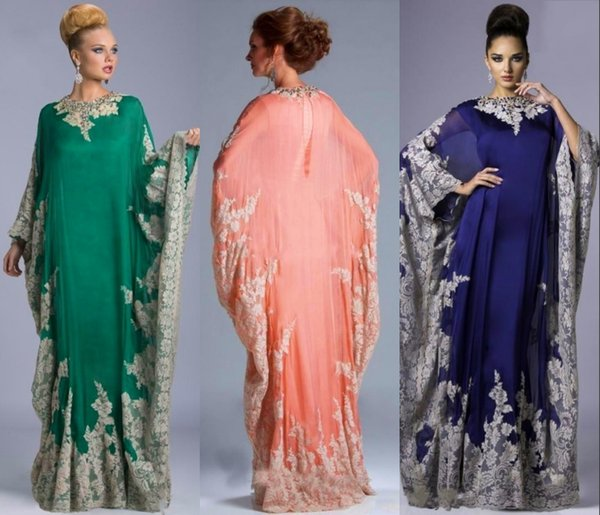 Fashion Evening Gowns Chiffon Kaftan Dubai Arabian Dresses Lace Long Sleeves Fitted Muslim Mother Of The Bride Dresses Customized Plus Size