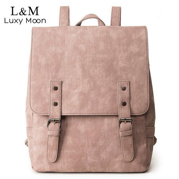 lady Backpack Large School Bag For Teenage Girls Shoulder Bag Vintage PU Leather Backpacks Black Casual Solid Rucksack XA83H