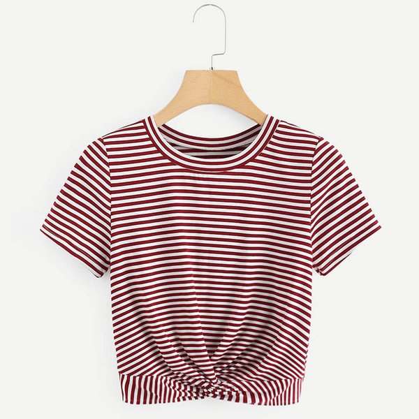 Womens Short Sleeve Striped T shirt twisted Front Crop tops T-shirt Casual sexy woman summer shirt tee top Female T