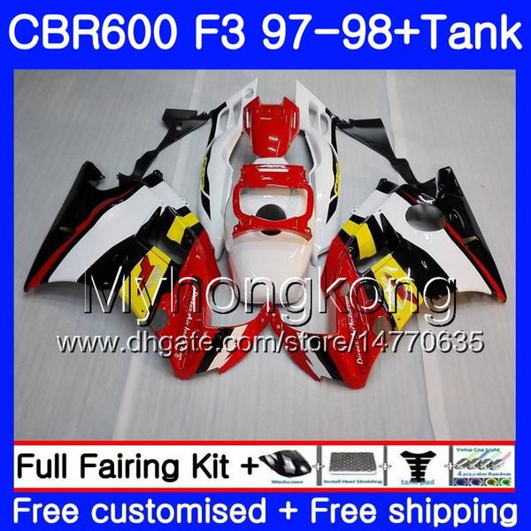 Body +Tank For HONDA CBR 600 FS F3 CBR600RR CBR 600F3 97 98 290HM.13 CBR600 F3 glossy red frame 97 98 CBR600FS CBR600F3 1997 1998 Fairings