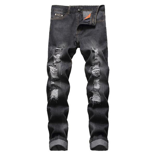 CALOFE 2019 Hot Fashion Ripped Hole Jeans Men Hollow Out Beggar Cropped Motorcycle Biker Pants Mens Cowboys Demin Pants