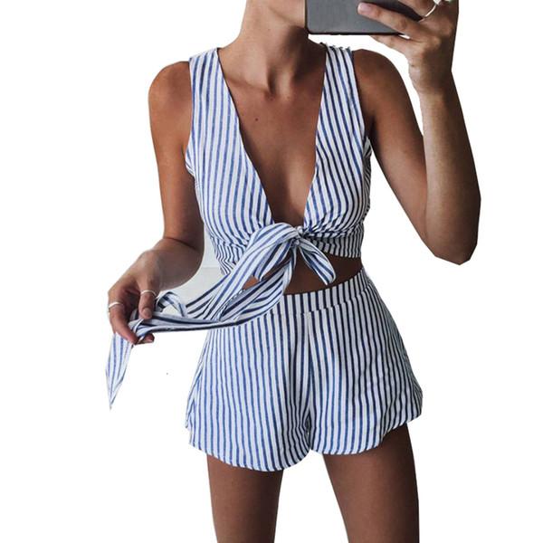 Piece Insieme tuta Due strisce blu Playsuits Beach pantaloni di scarsità casuali pagliaccetti sexy senza maniche con scollo a V Tuta Body Sashes