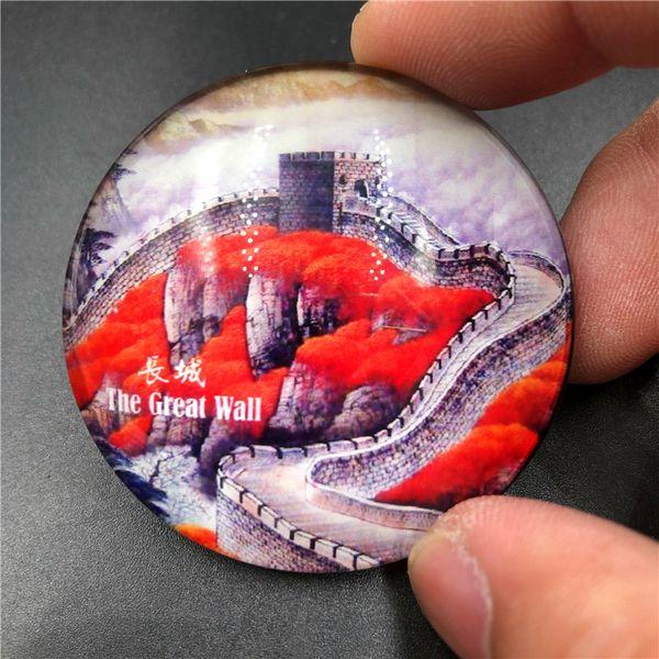 the great wall decorative magnets chinese panda cute magnets qingming shanghe tu creative circle crystal fridge magnet souvenir