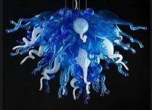 Artistique Main Lustre En Verre Soufflé Art Décoratif Moderne Pendentif Lumière Bleu Et Blanc Lustre En Verre Lumière pour Hôtel Bureau Maison
