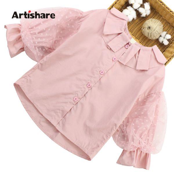 Mädchen Bluse Langarm-Punkt-Blusen-Shirts für Mädchen Frühlings-Shirts Teenager-Kostüme für 6 8 10 12 13 14 Jahr