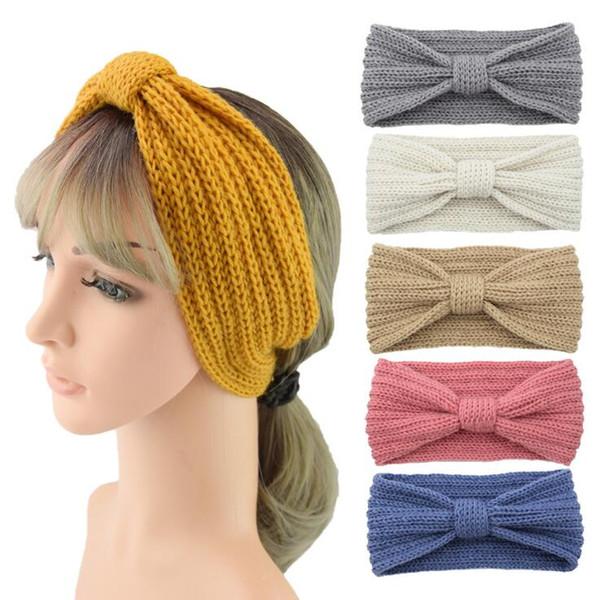 Fashion Women Crochet Twist Knitted Head wrap Headband Winter Ear Warmer Soft Braid Elastic Wool Knitted Head band Head Wrap Hairband Girls