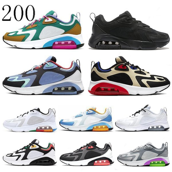 top popular 200 Running shoes men Desert Sand Mystic Green Triple Black World Stage royal blue women designer sneakers outdoor cushion sport trainers 2019