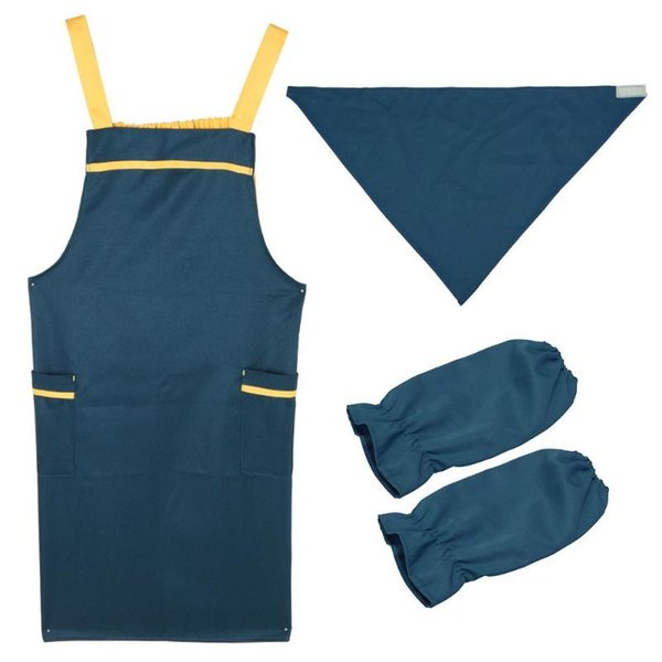 2 Pockets Kitchen Cooking Apron + Clean Sleeves + Kerchief Kit Baking Dress Cooking Aprons