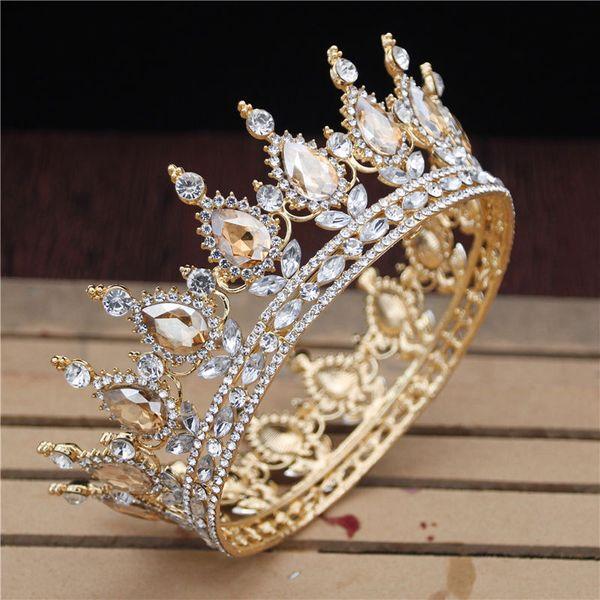 Cristal Vintage Royal Queen King Tiaras y coronas Hombres / Mujeres Desfile de baile Diadema Adornos para el cabello Boda Accesorios de joyería para el cabello