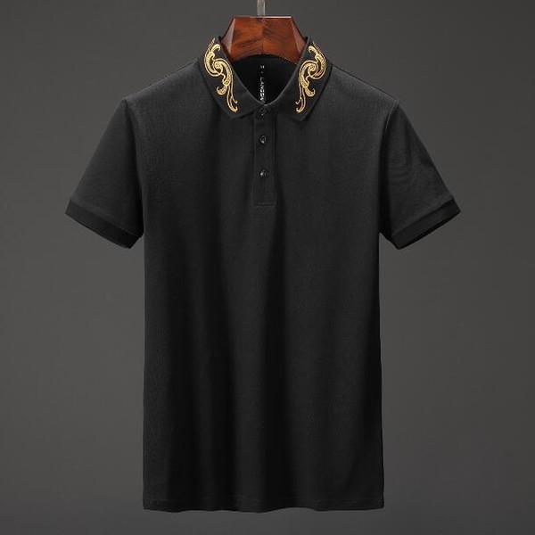 Fashion Brand designer polos men Casual t shirt Embroidered Medusa Cotton polo Shirt High street collar Luxury Polos Solid shirts
