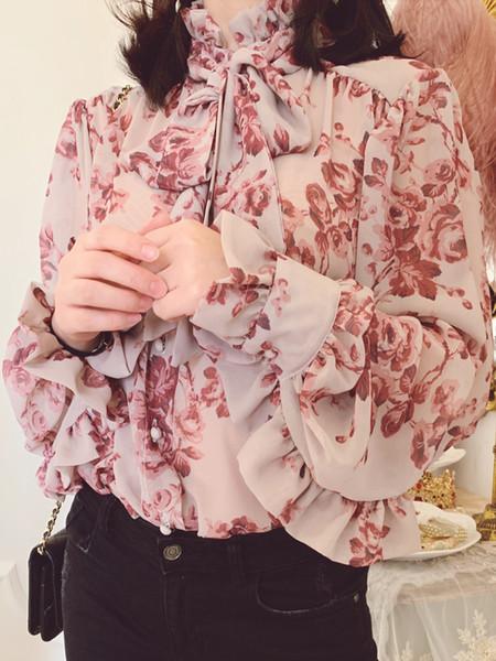 Marka Tasarımcısı Kadın Baskılı Bluz 2019 İlkbahar Yaz Moda Yüksek Sokak Kadın Ruffled Yaka Flounced Uzun Kollu Casual Gömlek Tops