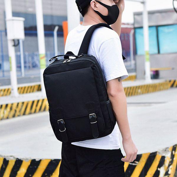Hillsionly mochila de viagem de grande capacidade para o estudante de moda Neutro Nylon Cor Pura Mochila Escolar casual zíper