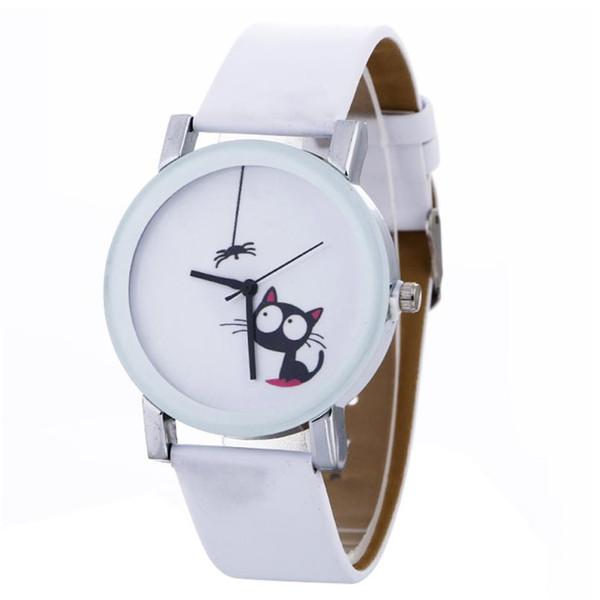 Orologi da donna casual Reloj Mujer Fashion Orologi da polso al quarzo con cinturino in pelle di gatto nero carino Orologio da donna Bayan Kol Saati
