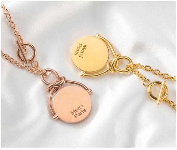 Merci Paris Модное Ожерелье Для Женщин Девушки - Золото Серебро Длинный Кулон Подвески Вращающиеся Ожерелья Подарок Роскошные Ювелирные Изделия