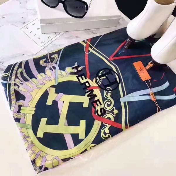 Foulard en soie de luxe pour femmes Printemps - Été Designer Floral Flower Longues écharpes avec étiquette Châles