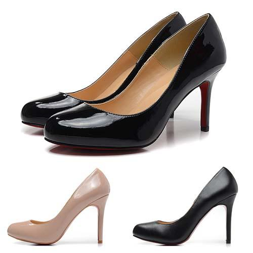 Fashion High Heels 8cm Brand Designer Women Shoes Luxury Matt Black Red Leather Bottom Round Toes Pumps Dress Shoes Size 35-42 Online