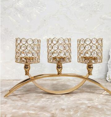 Home Decoratio Glass Crystal Candle Holders Wedding Centerpiece Metal Silver Gold Candlestick Candle Stand