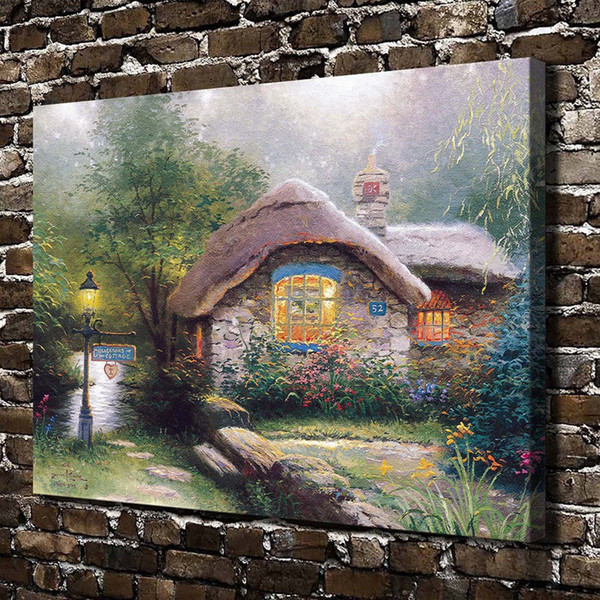 Thomas Kinkade,Collecto Cottage,1 Pieces Canvas Prints Wall Art Oil Painting Home Decor (Unframed/Framed)