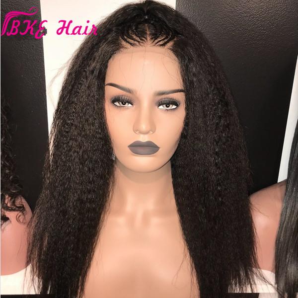 Peluca sintética del frente del cordón de la peluca recta rizada brasileña para las mujeres negras Peluca delantera del cordón recto de Yaki grueso con nudos del pelo del bebé