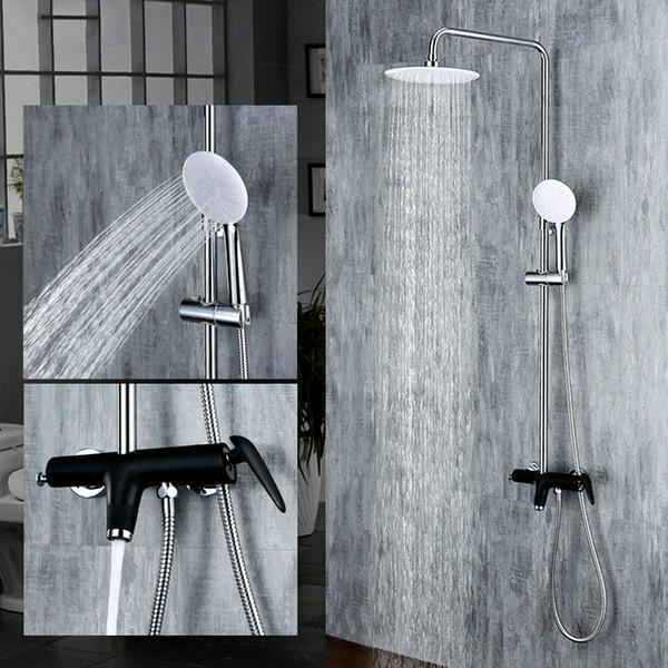 Cromado Pintura negra Juego de ducha de lluvia de 3 funciones Sistema montado en la pared Ducha de agua mezclada Grifo con gancho