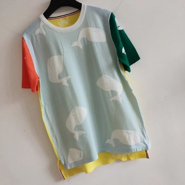 T Shirt Women Applique T-shirt Bouncy Ice Silk Fabric Fashion Amazing Two-color Stitching Whale Print