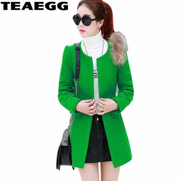 Пальто Женские TEAEGG элегантные женские пальто casacos свободного Зеленая Осенняя шерсть пальто зима женщины пальто Весте Hiver длинный Parka AL1513