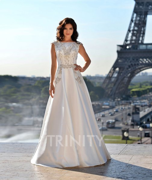 Beauty Ivory Satin Scoop Applique Beads A-Line Wedding Dresses Bridal Pageant Dresses Wedding Attire Dresses Custom Size 2-18 KF1228329