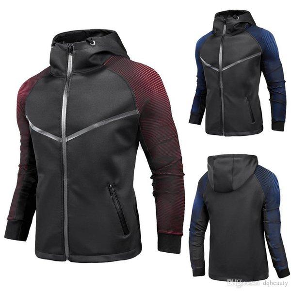dos homens Streetwear Jacket Casual Cardigan Jacket Personalidade Gradiente Campera Hombre Racing Suit Mens casacos e jaquetas 2019 New Hoodies
