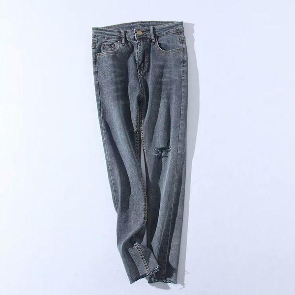 más fotos 39df4 b7e7f Compre Estilo Europeo 2019 Spring New Trendy Jeans Rasgados Para Mujeres,  Marca Femenina Vintage Denim Pantalones Casual Agujeros Delgados Jeans A ...