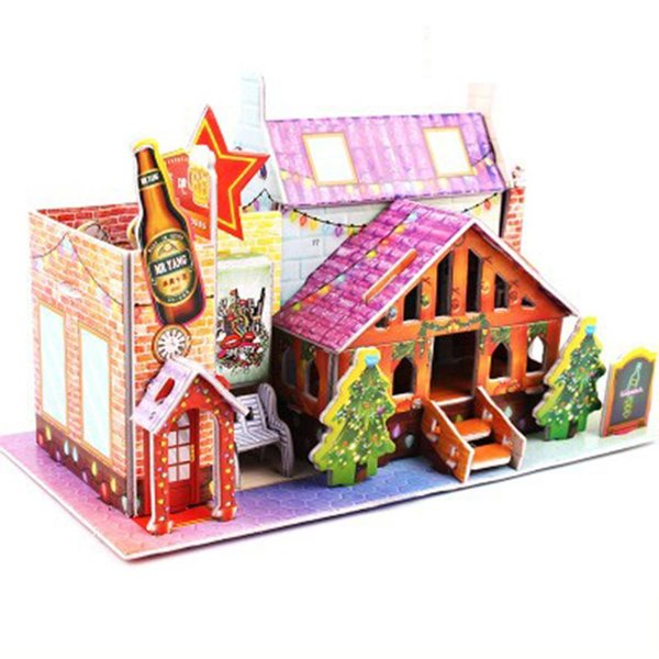 Children DIY 3D Puzzle Cartoon House Kids Christmas Made of Eco-friendly paper Puzzles Gifts Educational Toy Casual