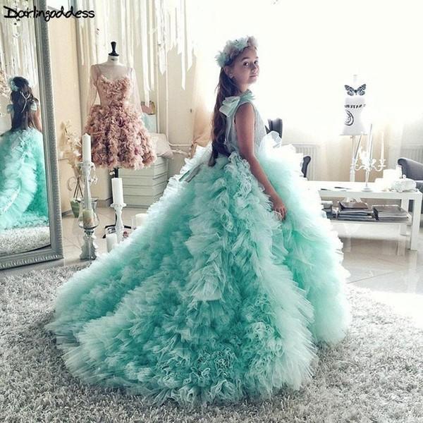 Mint Green девушки цветка 2019 Первое причастие платья для девочек бальное платье свадебное платье Дети Вечерние платья