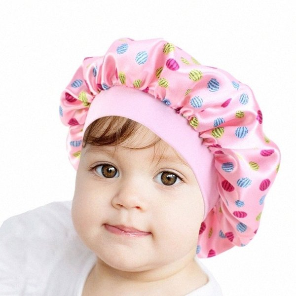 top popular Kids Night Sleep Cute Pattern Bonnet Hair Cap for Children Satin Wide-brimmed Elastic Turban Hat Girl Boy Hair Care Jewelry YE8o# 2021