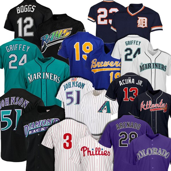 top popular 51 Randy Johnson 28 Nolan Arenado 24 Ken Griffey Jr Jersey 12 Wade Boggs 19 Robin Yount 13 Ronald Acuna Jr. Baseball Jerseys 2020
