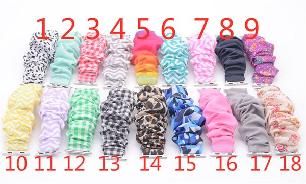 best selling 18 Colors Scrunchie watchband Wholesale leopard solid color  stripe scrunchie watch band cloth fashion wrist band New Arrival