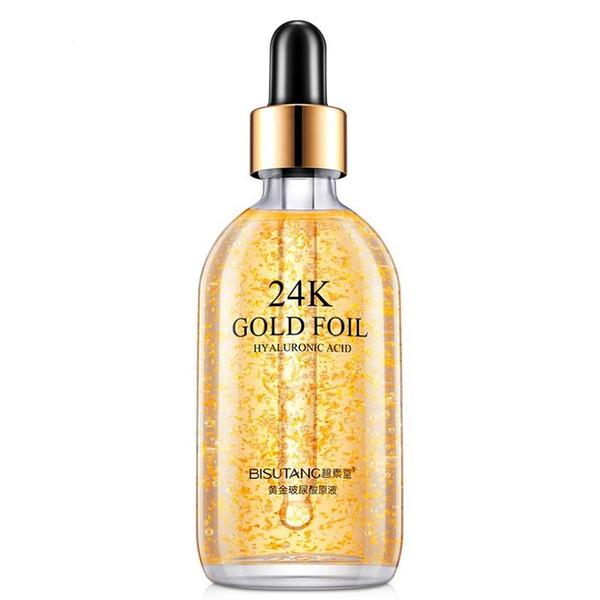 top popular 24k gold Hyaluronic solution skin care essence make skin smooth tender and elastic Deep water supplement Oil-control Lighten Fine Lines lot 2021