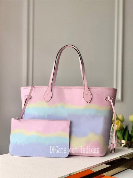 top popular 21 colors never shopping bag flower women MM large cavans tote messenger bags full with pouch handbagneverfullwomen 2020 new TEAk# 2020