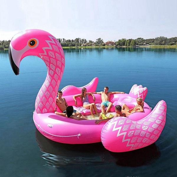 top popular Factory Wholesale 16ft Giant Inflatable PVC Flamingo Pool Floats Water Game Party Equipments Animal Boat for 6 Persons Free Shipping 2021