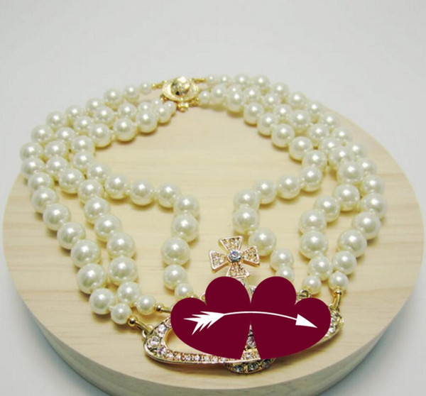 best selling 2020 new product 3-layer pearl orbit necklace ladies rhinestone satellite planet necklace gift high quality