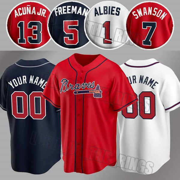 top popular Custom Braves Jersey 13 Ronald Acuna Jr Jersey 1 Ozzie Albies Jerseys 7 Dansby Swanson Jersey 5 Freddie Freeman 40 Mike Soroka Baseball 2020